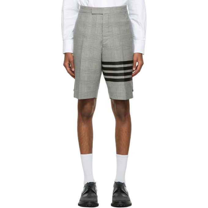 Photo: Thom Browne Black and White Wool Prince Of Wales 4-Bar Shorts