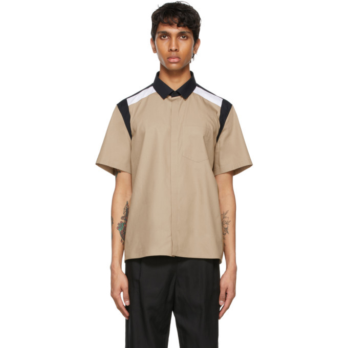 Photo: Neil Barrett Tan Hybrid Cotton Short Sleeve Shirt