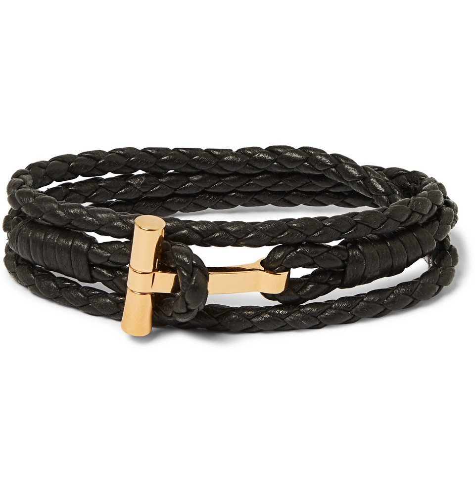 Photo: TOM FORD - Woven Leather and Gold-Tone Wrap Bracelet - Brown