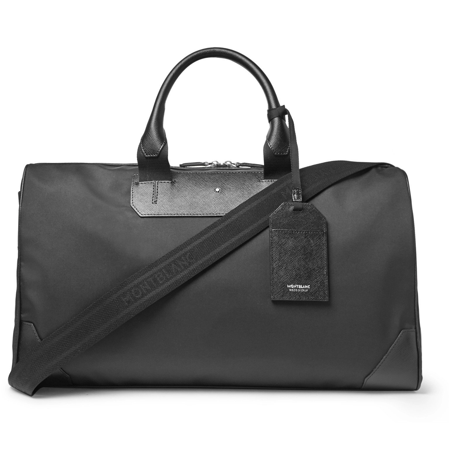 Photo: Montblanc - Sartorial Jet Cross-Grain Leather-Trimmed Shell Duffle Bag - Black