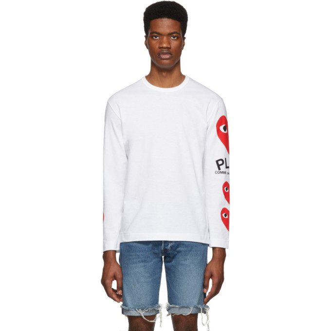 Photo: Comme des Garcons Play White and Red Logo Multi Hearts Long Sleeve T-Shirt
