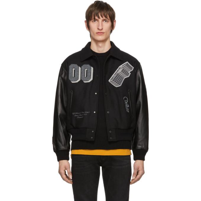 Photo: Off-White Black Leather Golden Ratio Varsity Jacket