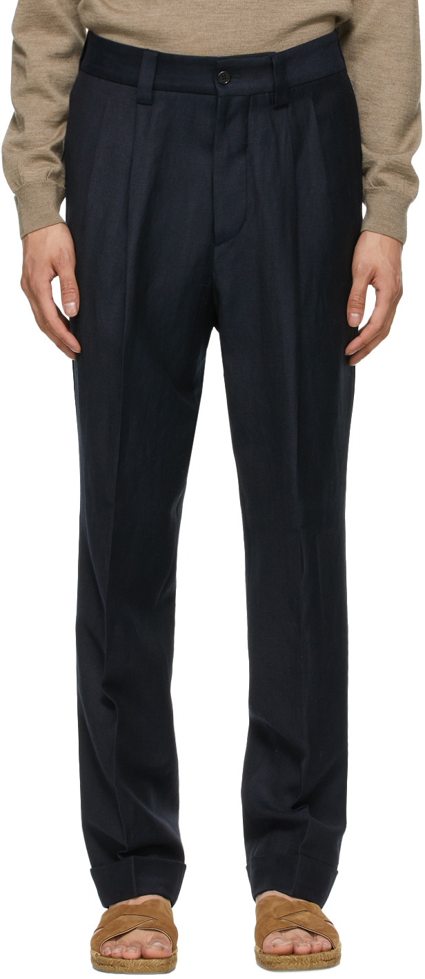 Photo: Margaret Howell Navy Wool Dense Twill Trousers