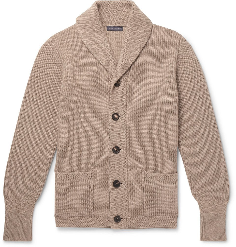 Photo: Thom Sweeney - Shawl-Collar Ribbed Cashmere Cardigan - Cream