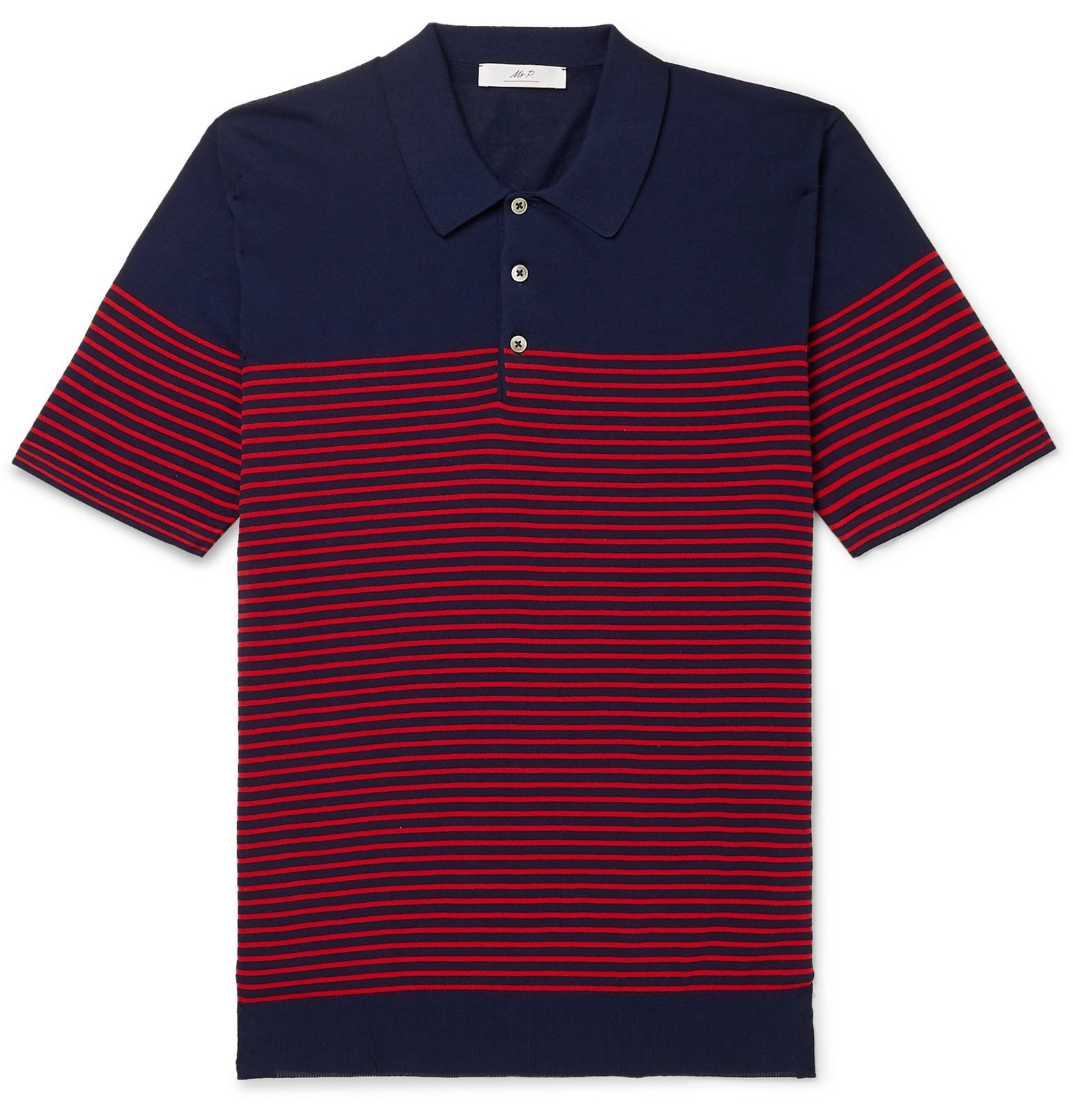 Photo: Mr P. - Striped Cotton Polo Shirt - Blue