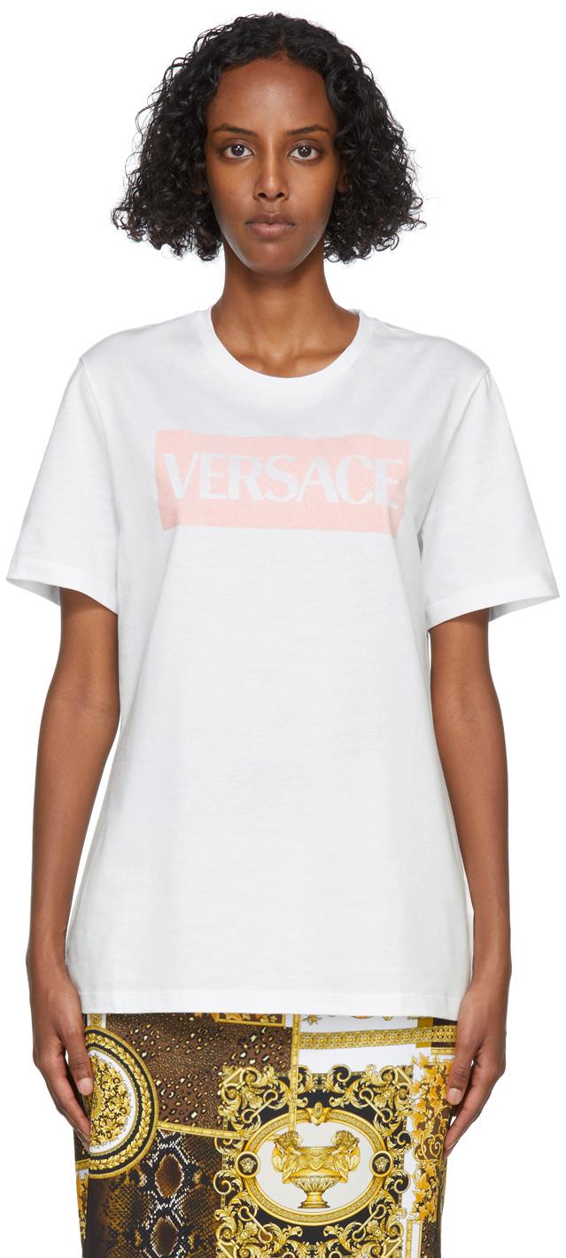Photo: Versace White & Pink Flocked Logo T-Shirt