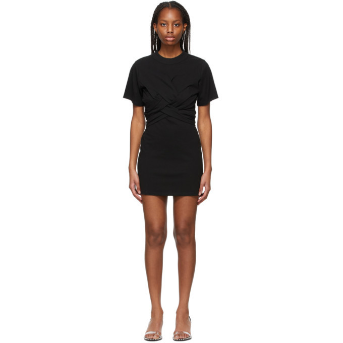 Photo: alexanderwang.t Black Cross Draped T-Shirt Dress