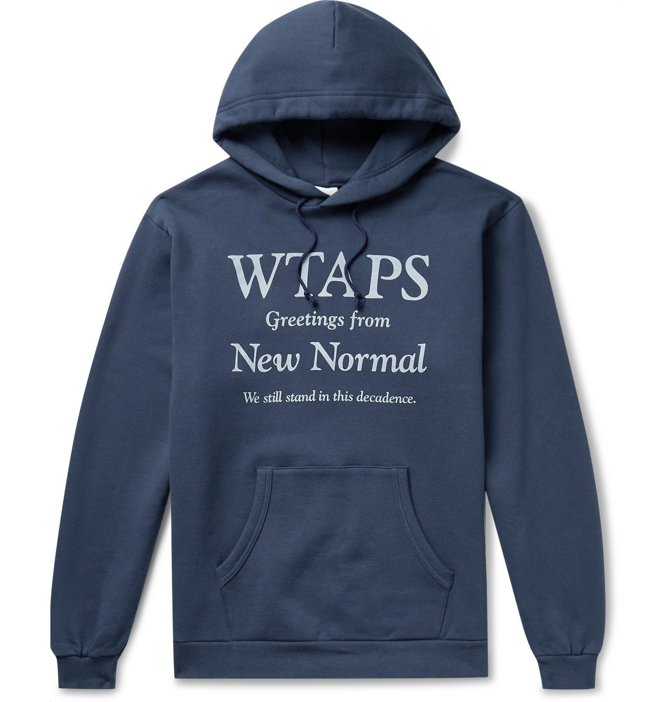 Photo: WTAPS - Logo-Print Fleece-Back Cotton-Jersey Hoodie - Blue