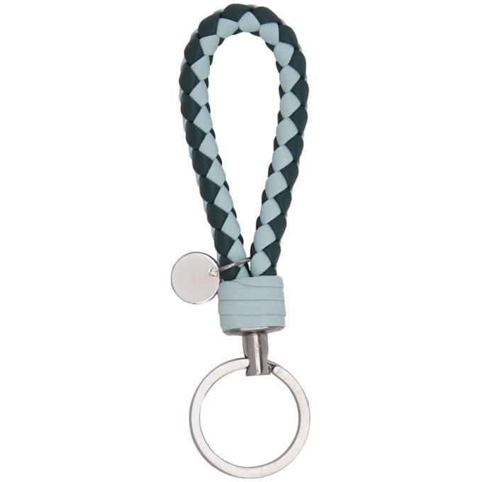 Bottega Veneta Blue Bicolor Intrecciato Loop Keychain
