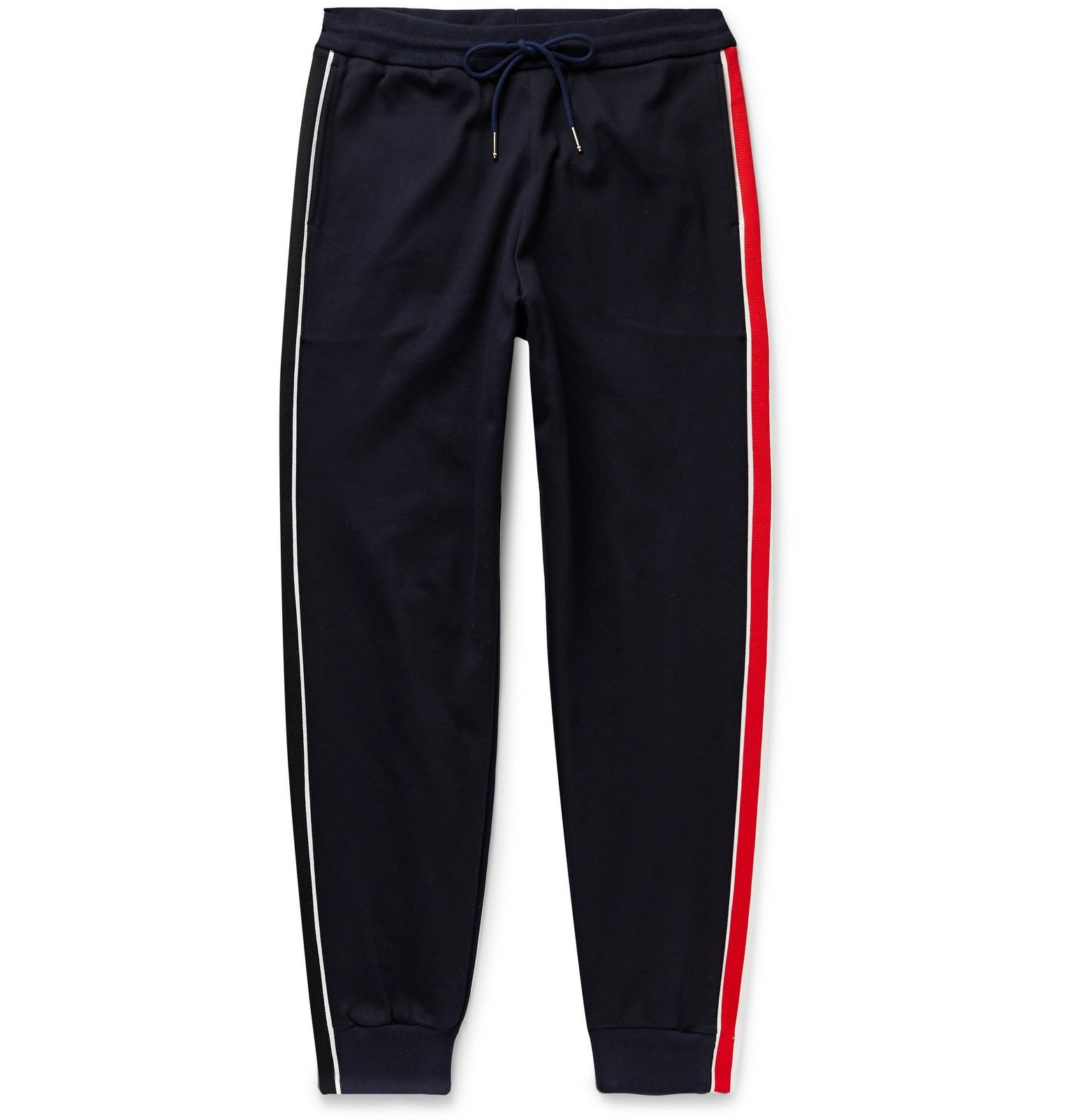 Photo: Thom Browne - Tapered Striped Jacquard-Trimmed Cotton-Jersey Sweatpants - Blue