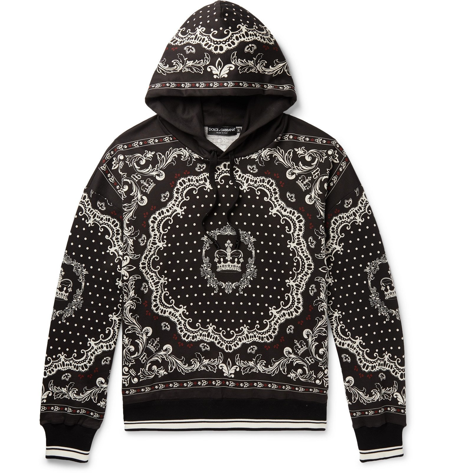 Photo: Dolce & Gabbana - Printed Loopback Cotton-Blend Jersey Hoodie - Black