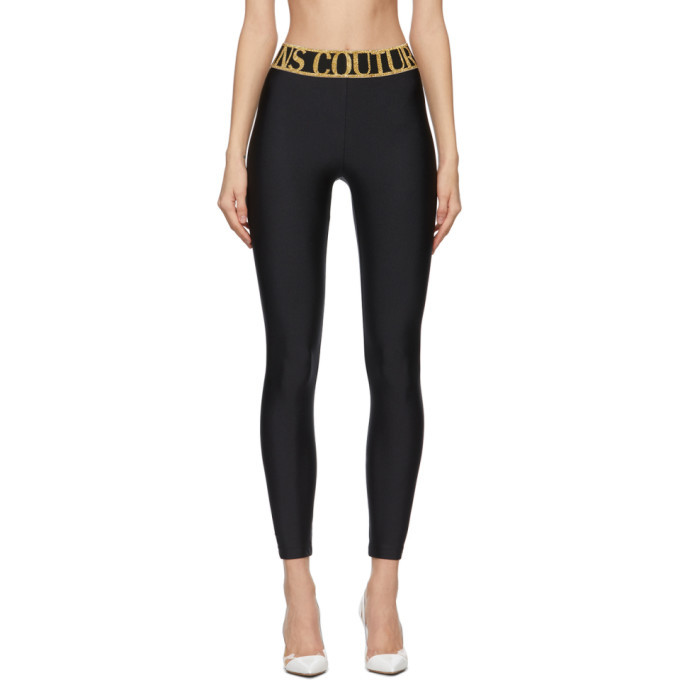Photo: Versace Jeans Couture Black and Gold Logo Leggings