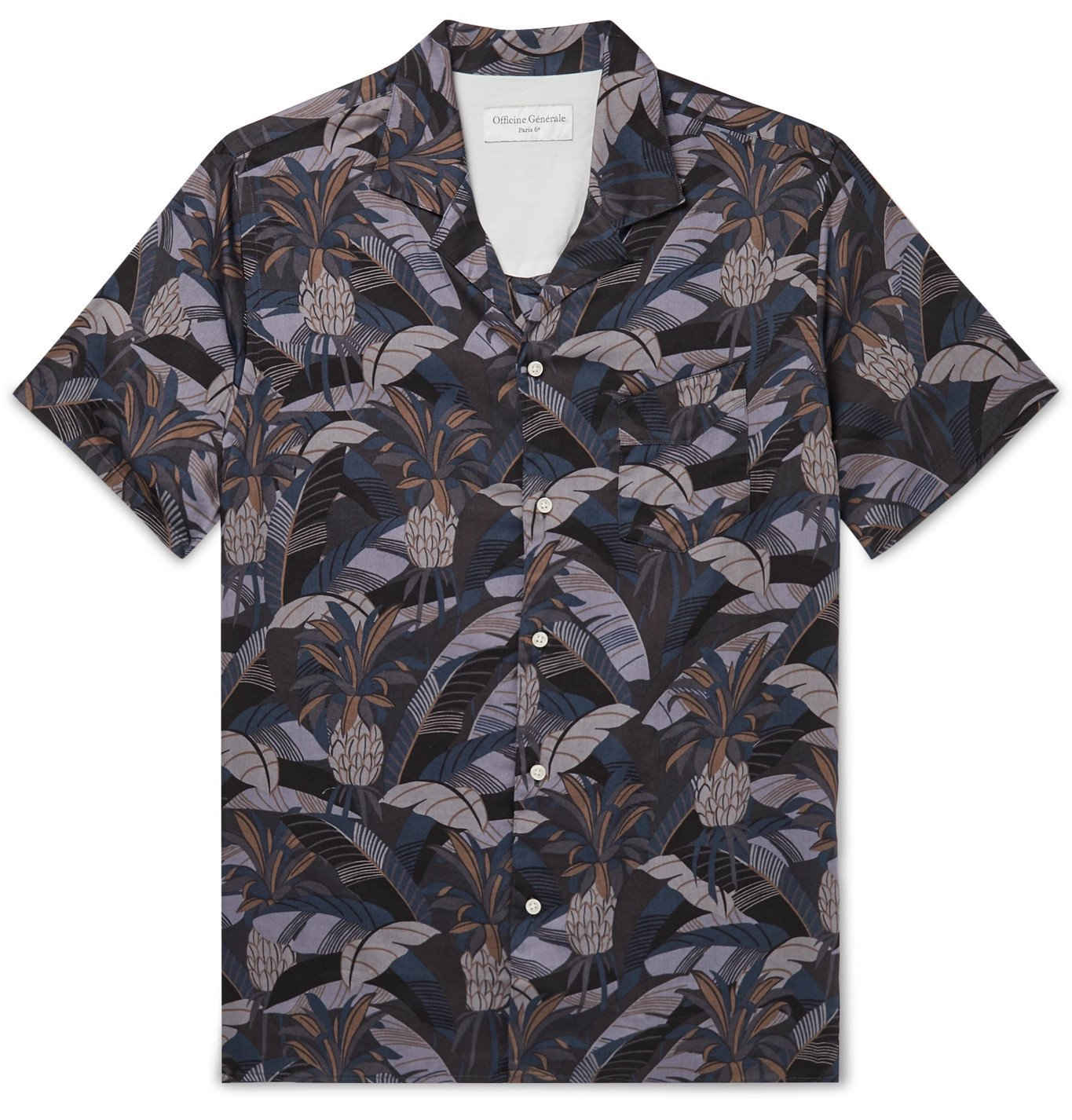 Photo: Officine Generale - Dario Camp-Collar Printed Cotton Shirt - Black