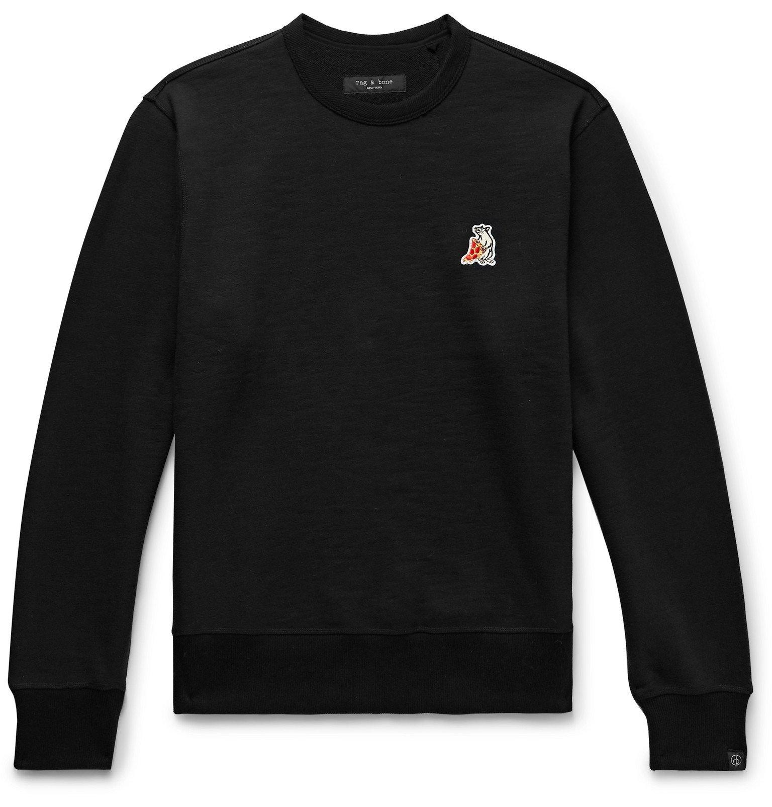 Photo: rag & bone - Appliquéd Loopback Cotton-Jersey Sweatshirt - Black