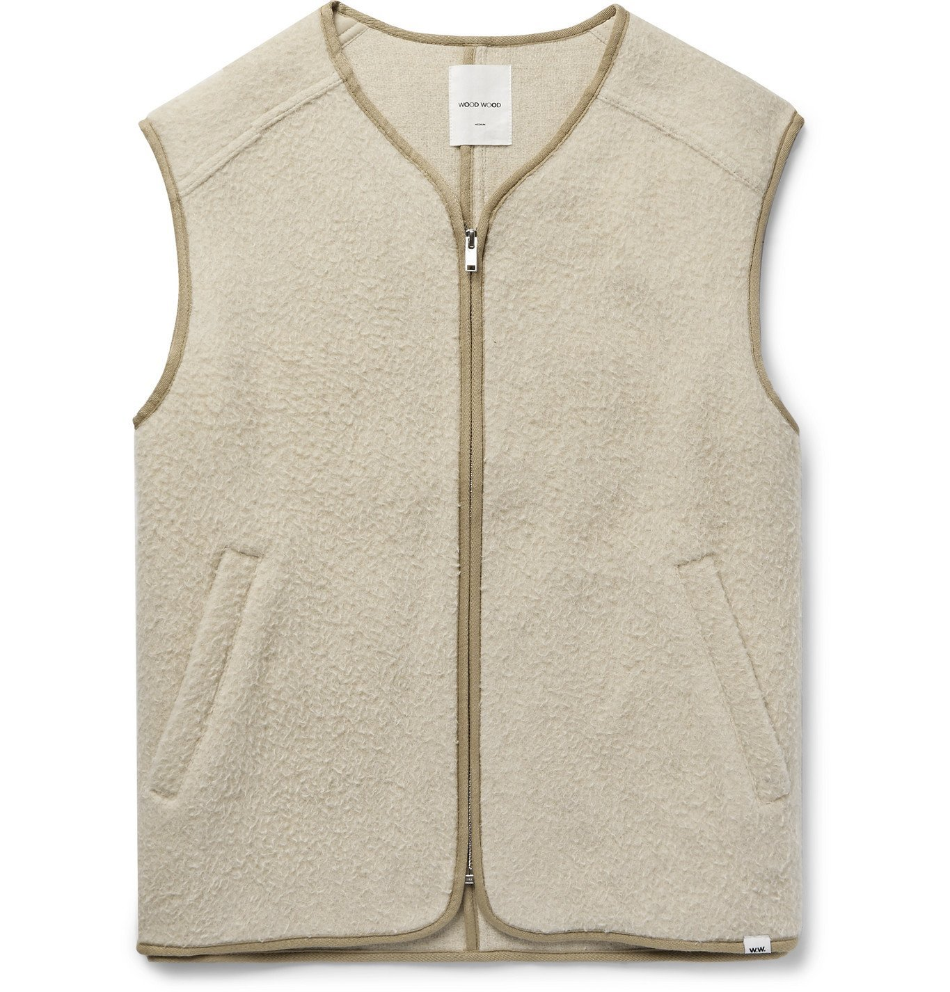 Wood Wood - Victor Piped Brushed Wool-Blend Gilet - Neutrals