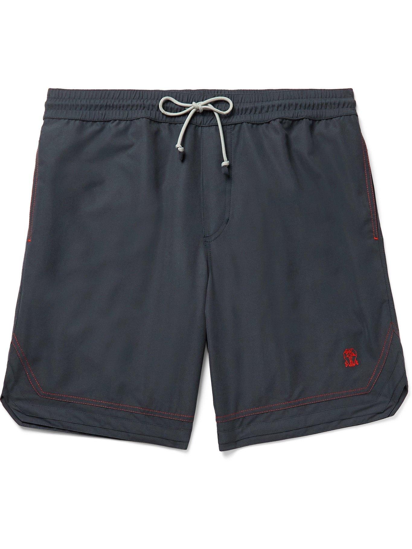 Photo: BRUNELLO CUCINELLI - Logo-Embroidered Swim Shorts - Blue - XS