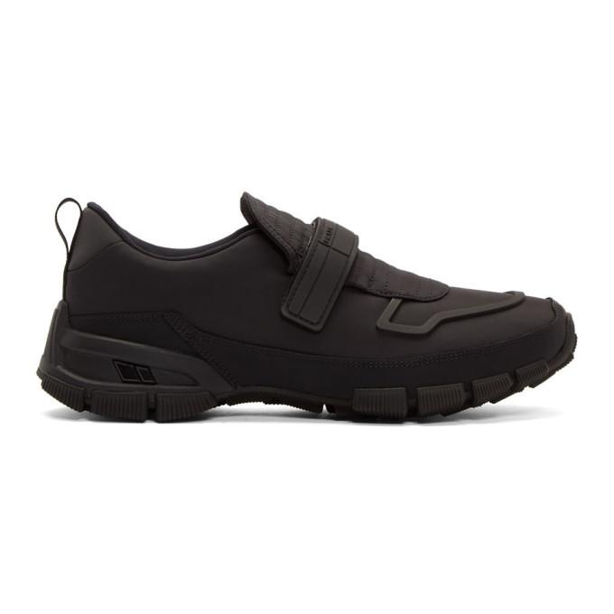 Photo: Prada Black Gabardine Strap Sneakers