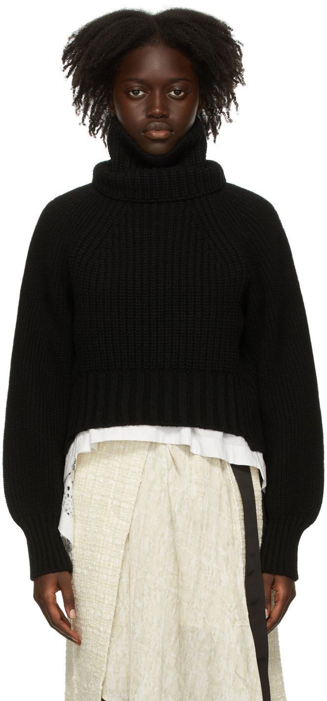 Sacai Black Wool Turtleneck