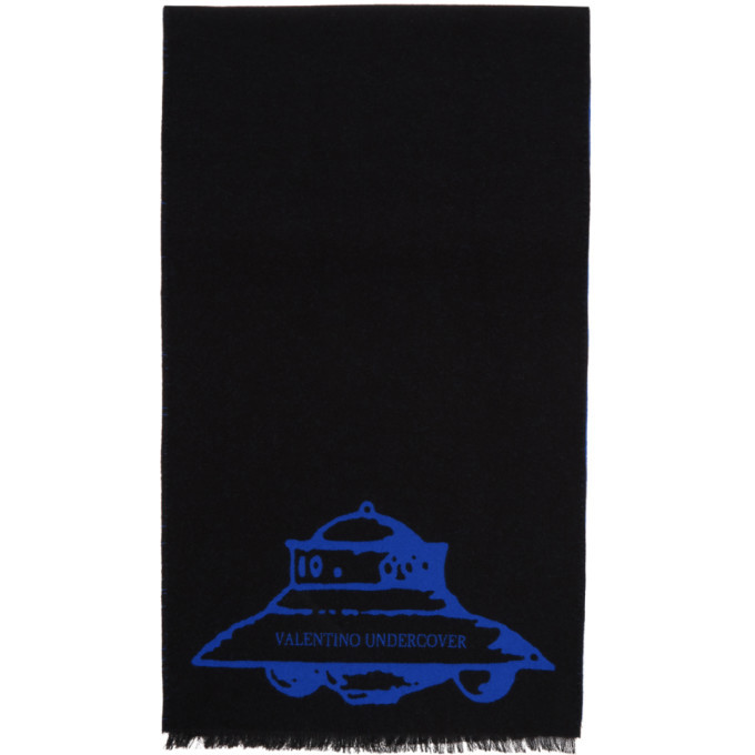 Photo: Valentino Black and Blue Valentino Garavani Undercover Edition Wool UFO Scarf