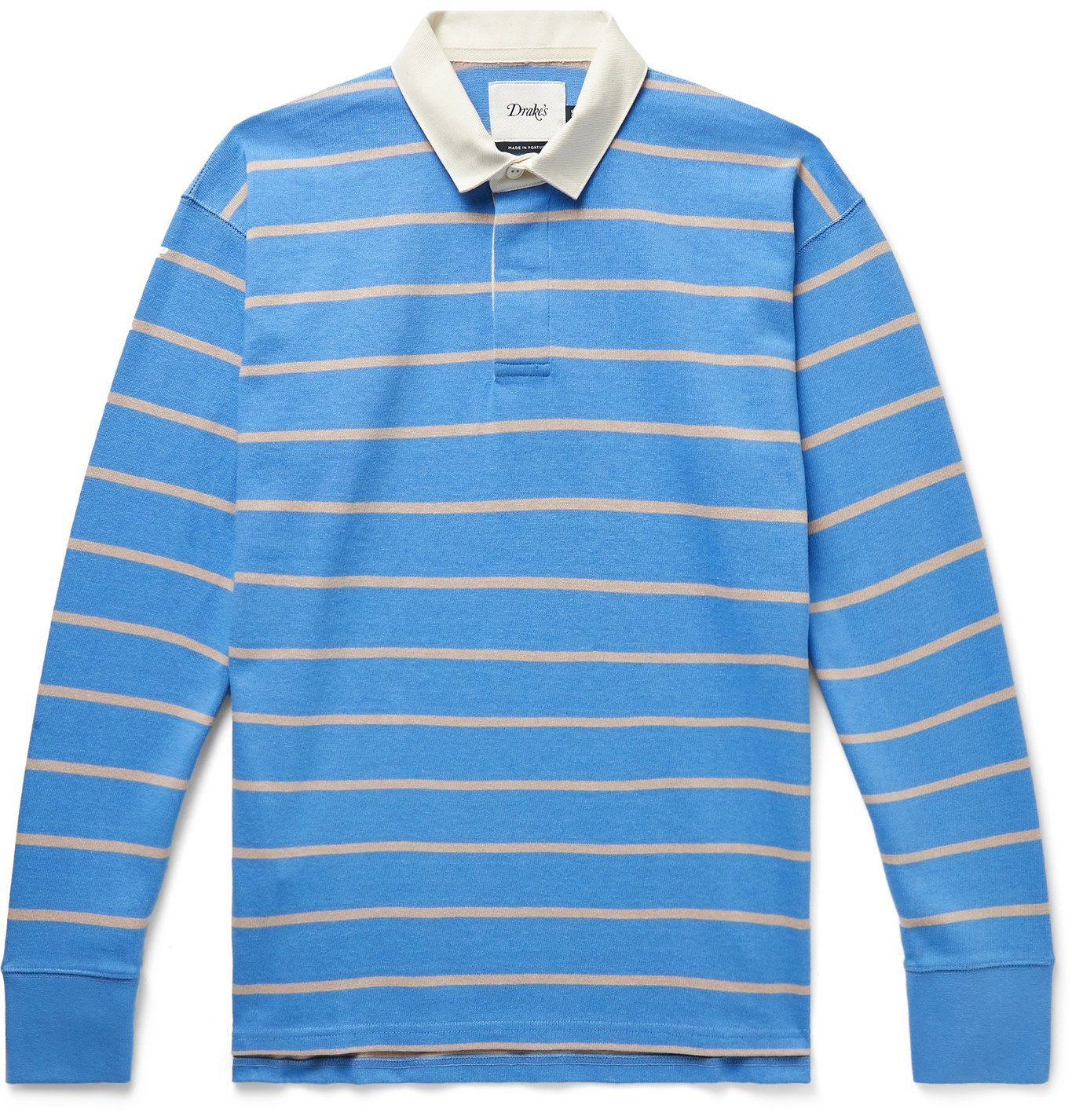 Photo: Drake's - Twill-Trimmed Striped Cotton-Jersey Polo Shirt - Blue