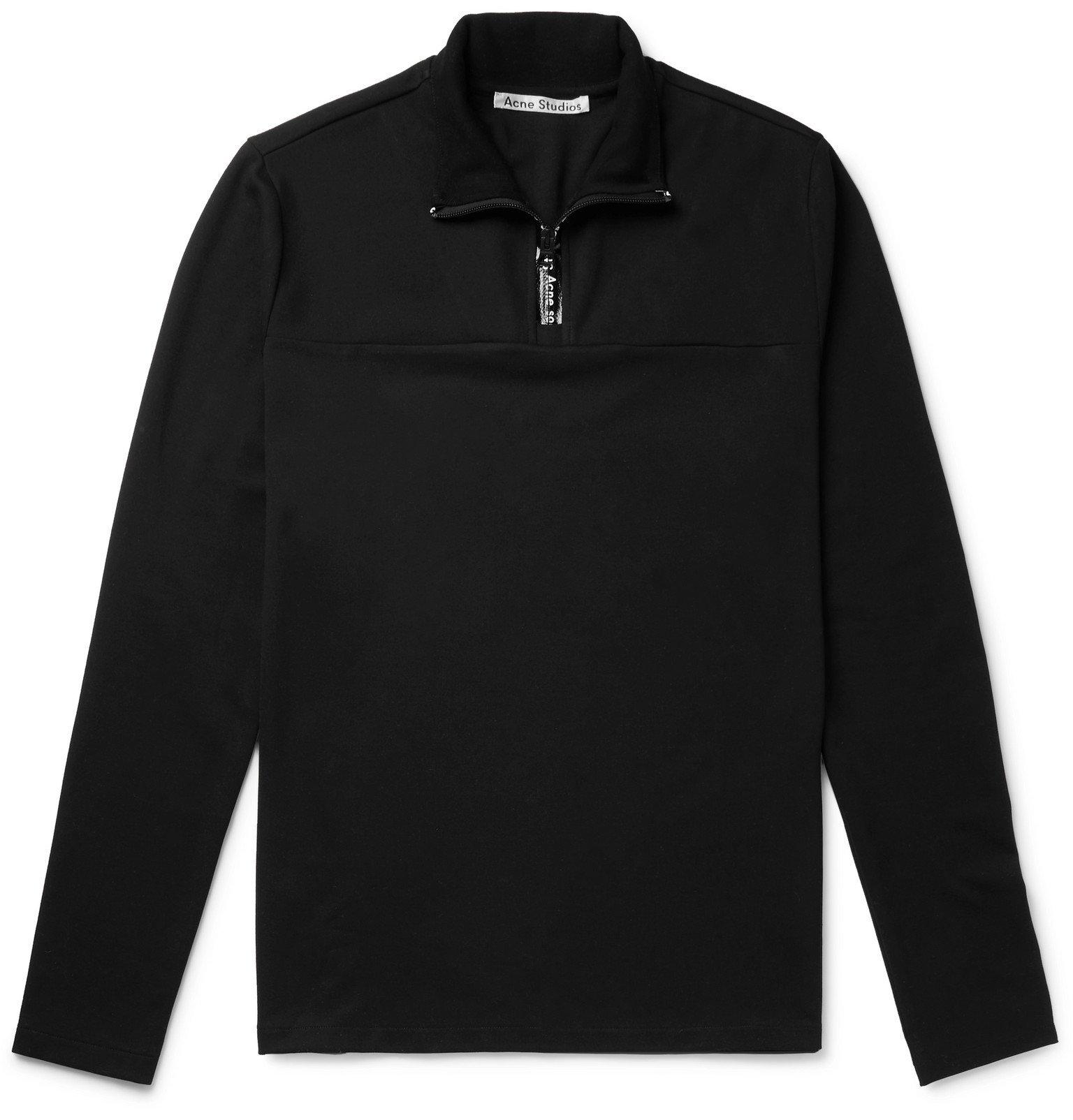 Photo: Acne Studios - Ellington Stretch-Jersey Half-Zip T-Shirt - Black