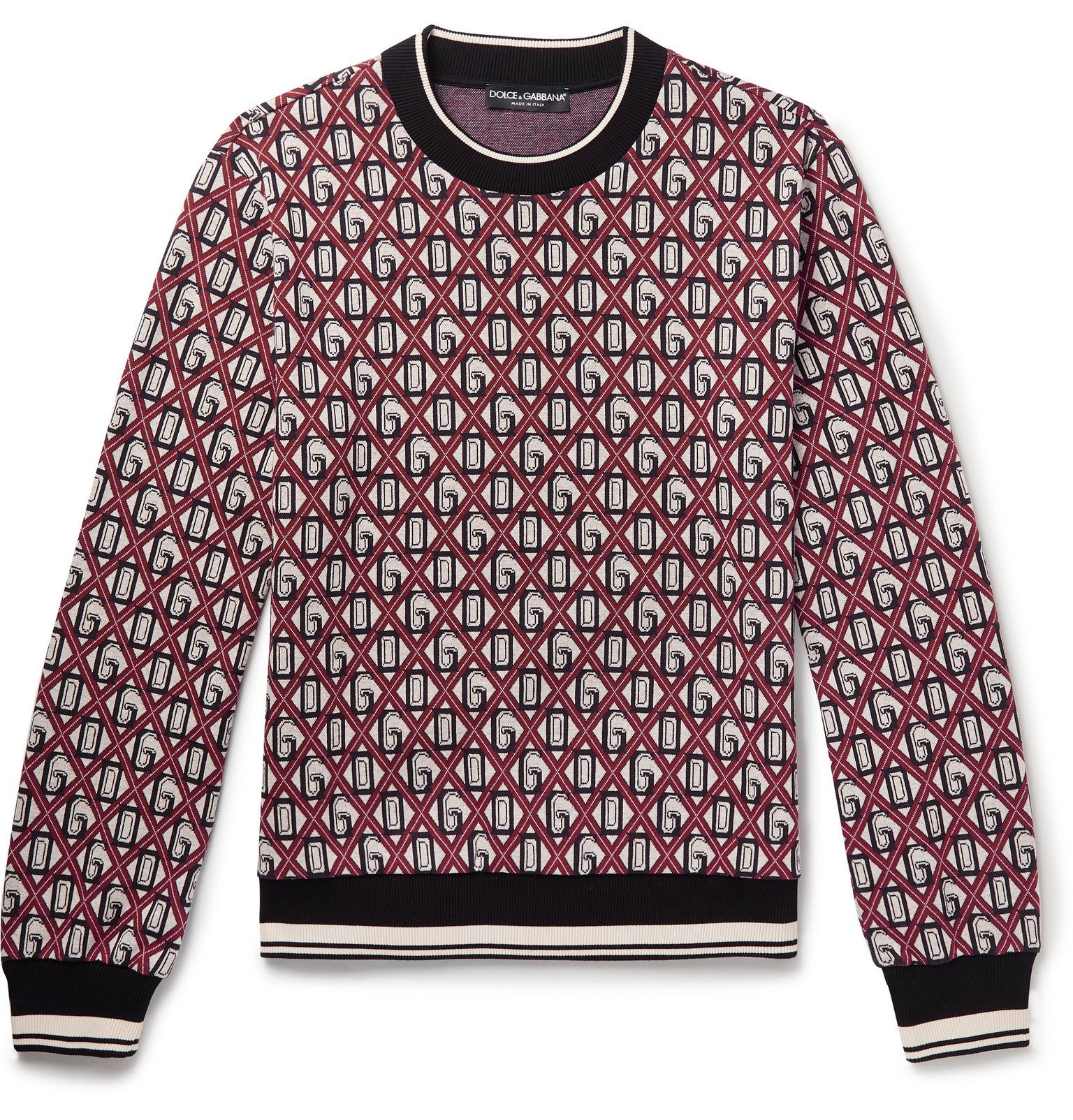 Photo: Dolce & Gabbana - Cotton-Blend Jacquard Sweater - Red
