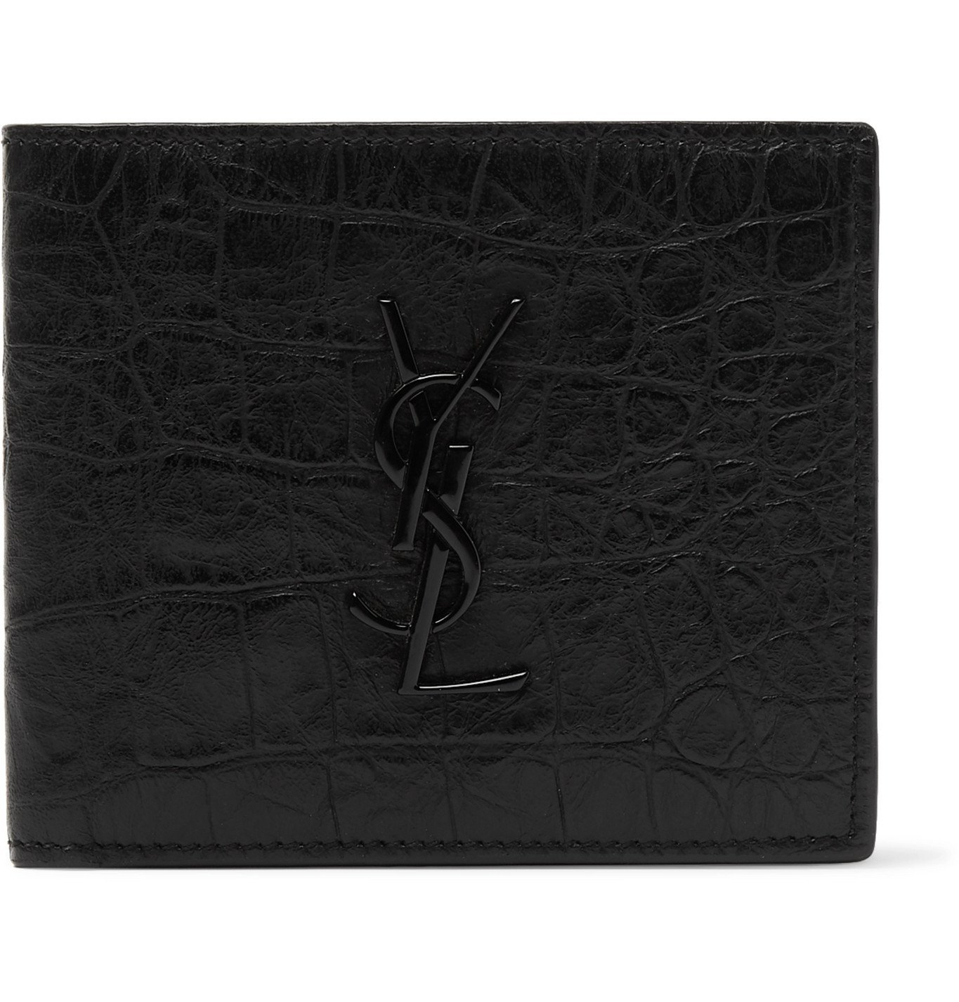 Photo: SAINT LAURENT - Logo-Appliquéd Croc-Effect Leather Billfold Wallet - Black