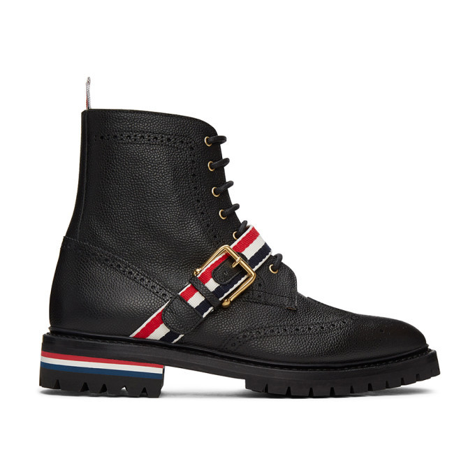 Photo: Thom Browne Black Strap Wingtip Boots