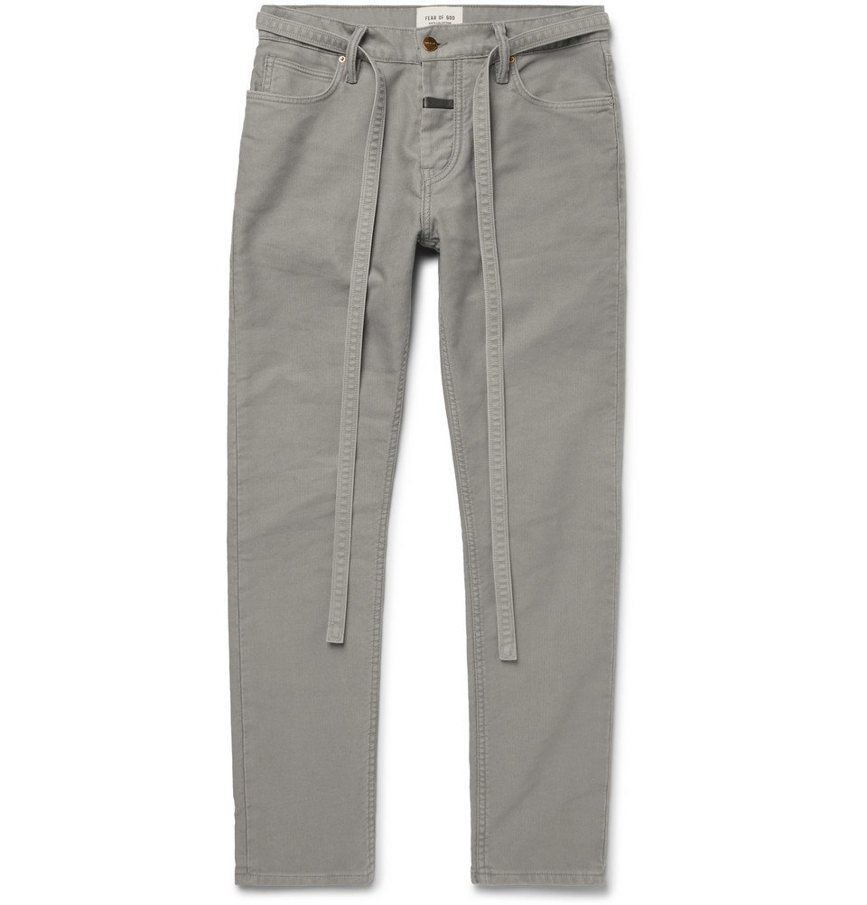 Photo: Fear of God - Slim-Fit Belted Cotton-Corduroy Jeans - Gray