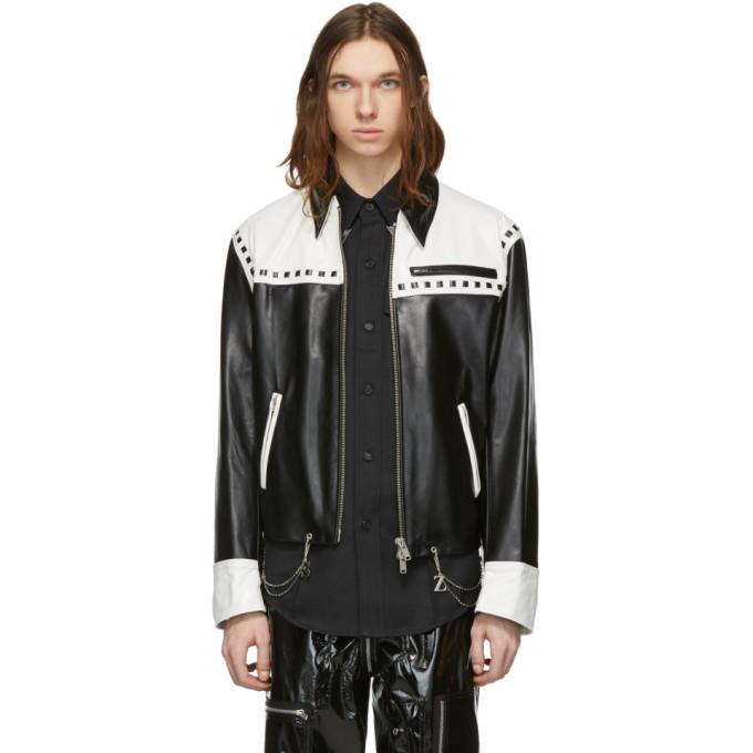 Photo: Sankuanz Black and White Leather Chain Jacket
