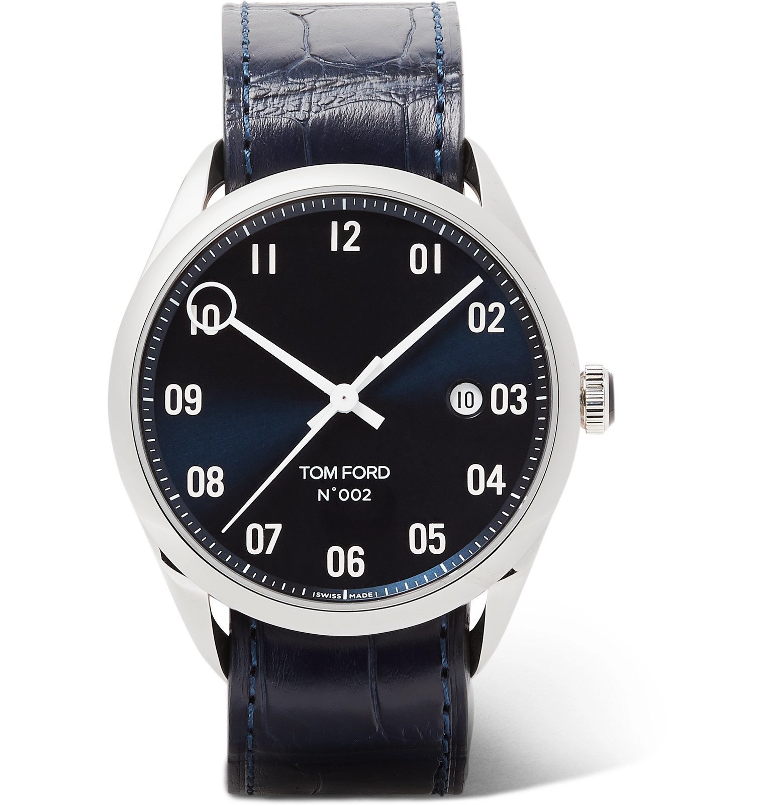 Photo: Tom Ford Timepieces - 002 40mm Stainless Steel and Alligator Watch - Blue