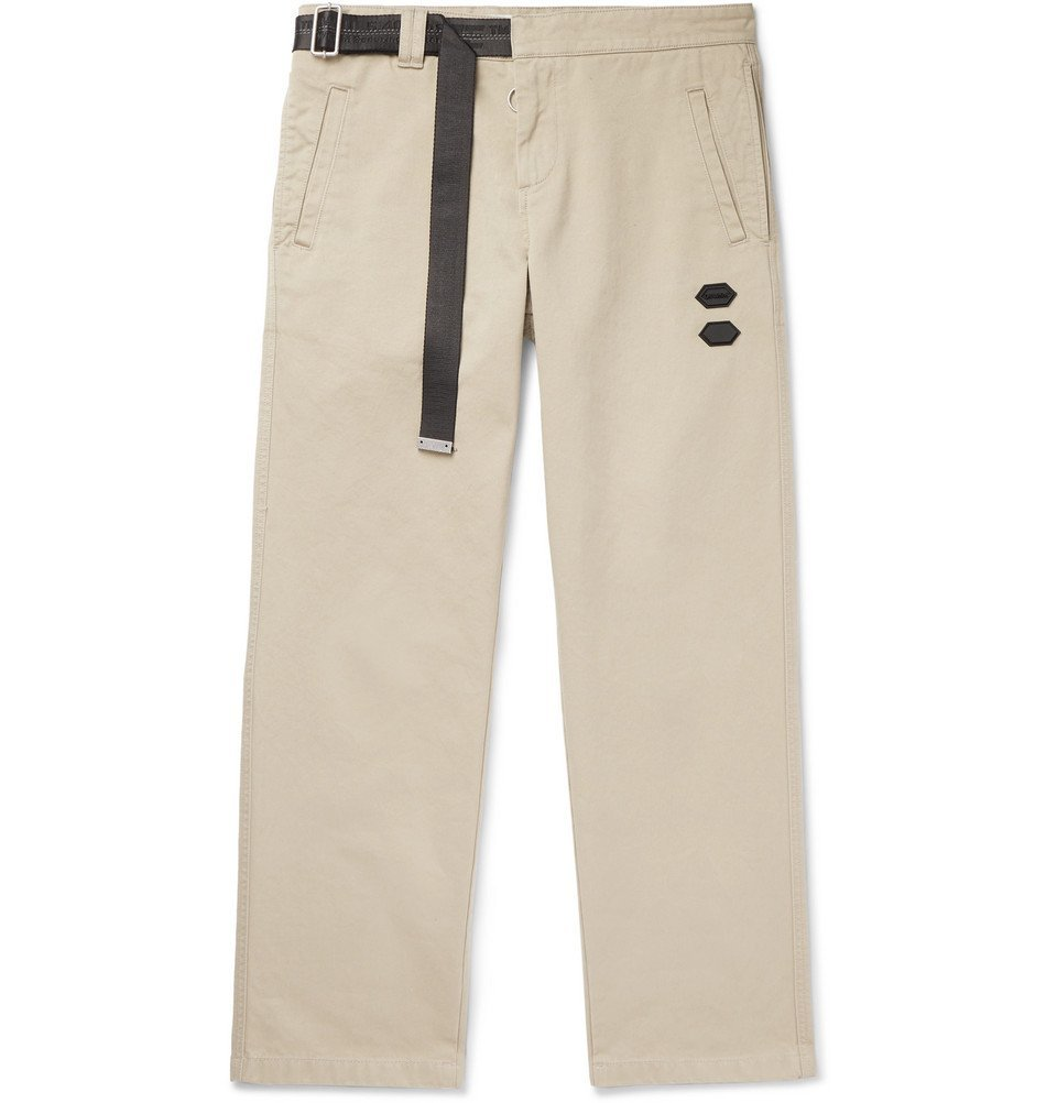 Photo: Off-White - Belted Logo-Trimmed Cotton-Twill Chinos - Beige