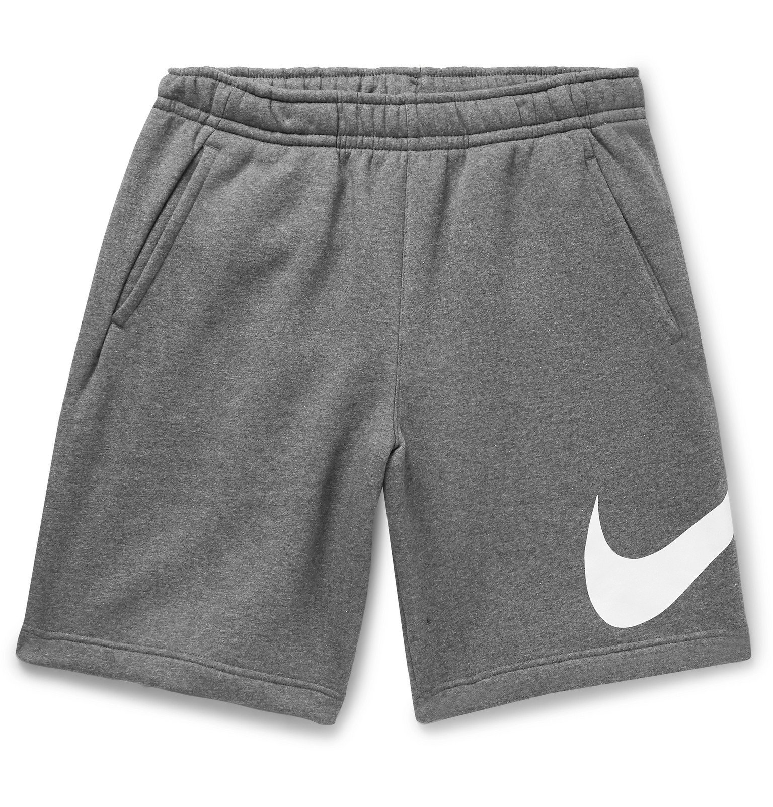 Photo: Nike - Sportswear Club Logo-Print Fleece-Back Cotton-Blend Jersey Shorts - Gray