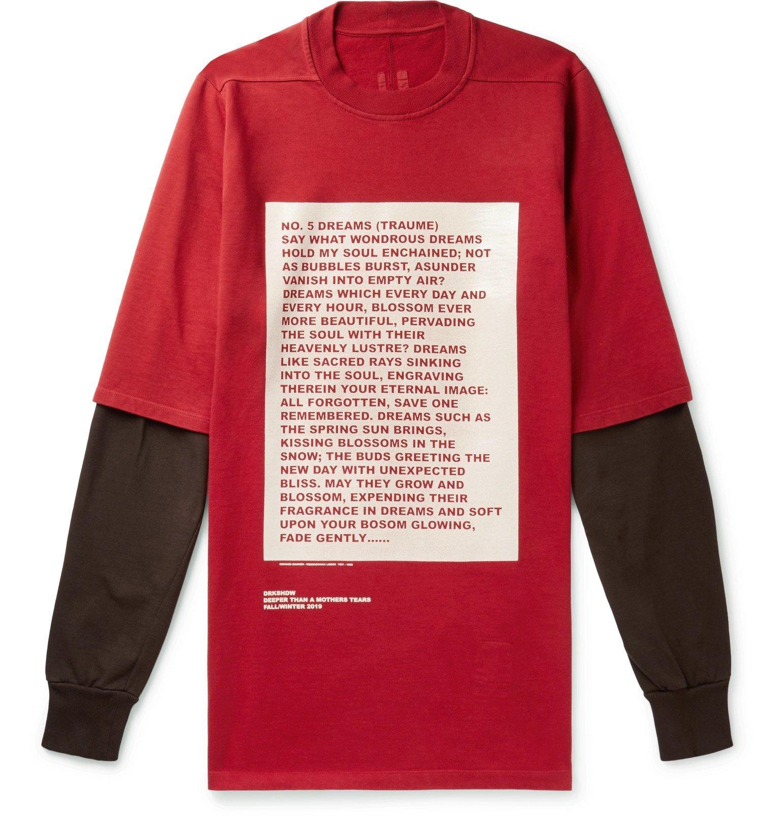 Photo: Rick Owens - Hustler Oversized Layered Printed Cotton-Jersey Sweatshirt - Red