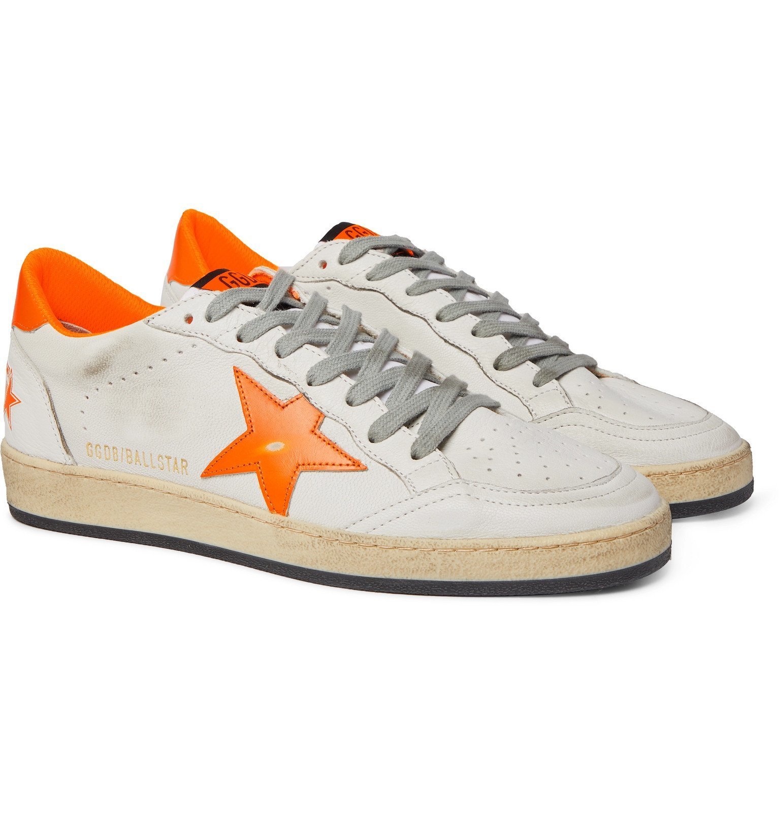 Photo: Golden Goose - Ball Star Distressed Leather Sneakers - White