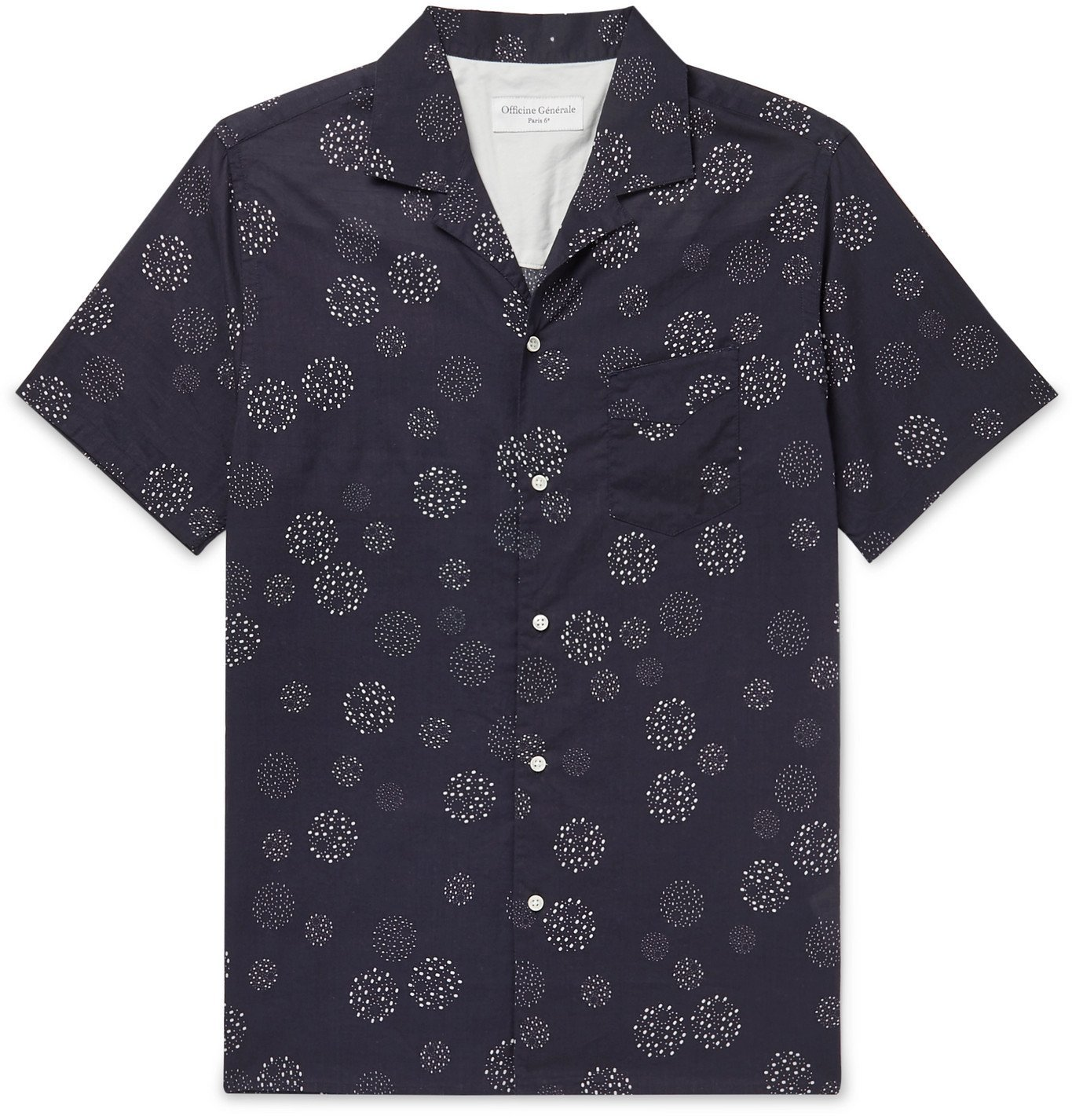 Photo: Officine Generale - Dario Camp-Collar Printed Cotton-Voile Shirt - Blue