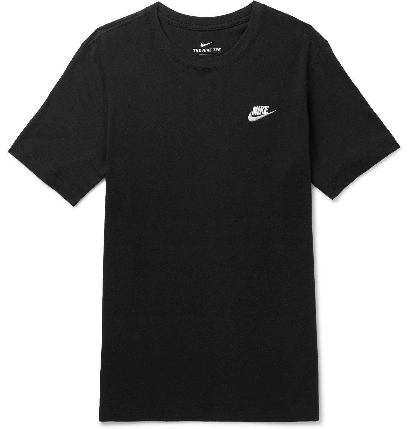 Photo: Nike - Logo-Embroidered Cotton-Jersey T-Shirt - Black