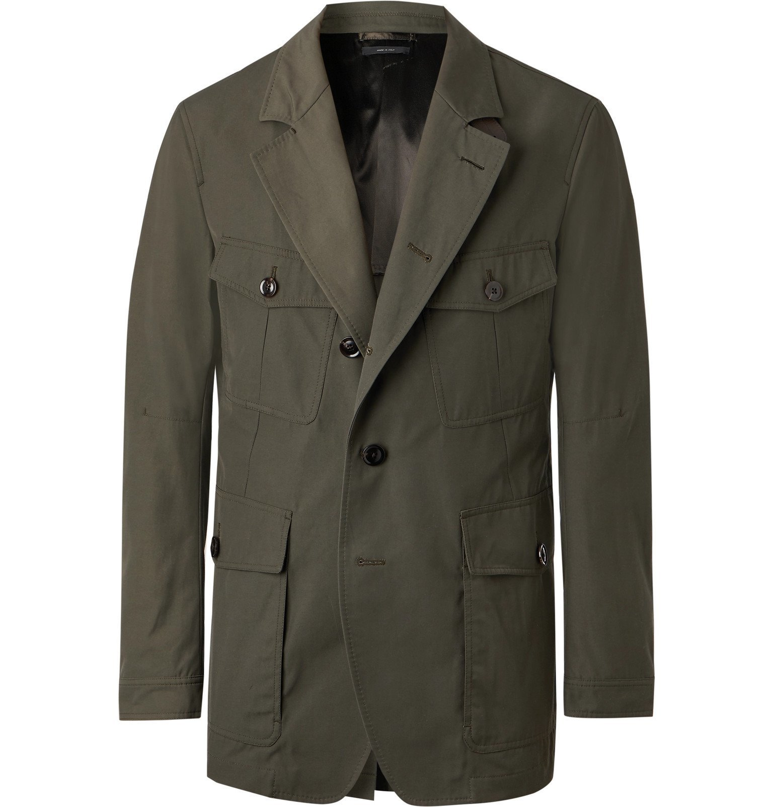 Photo: TOM FORD - Slim-Fit Unstructured Leather-Trimmed Canvas Blazer - Green