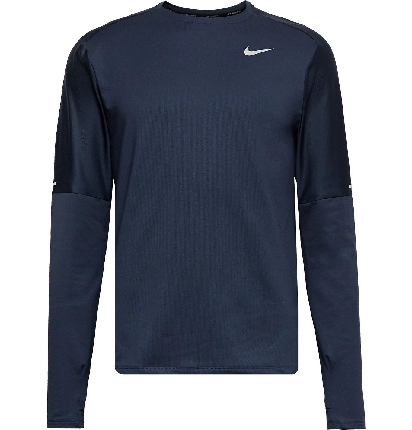 Nike Running - Element Mesh-Trimmed Logo-Print Dri-FIT Top - Blue