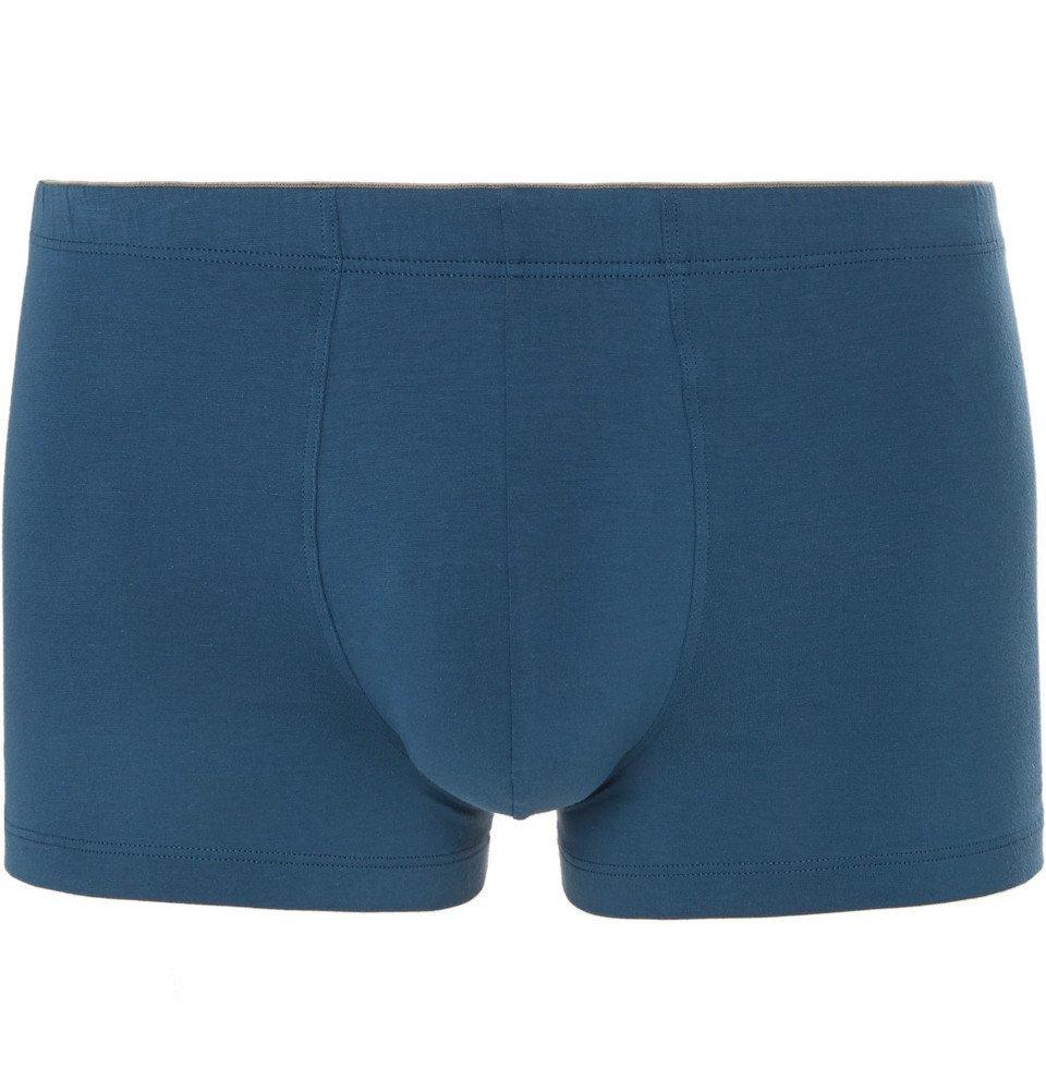 Hanro - Superior Stretch-Cotton Boxer Briefs - Blue