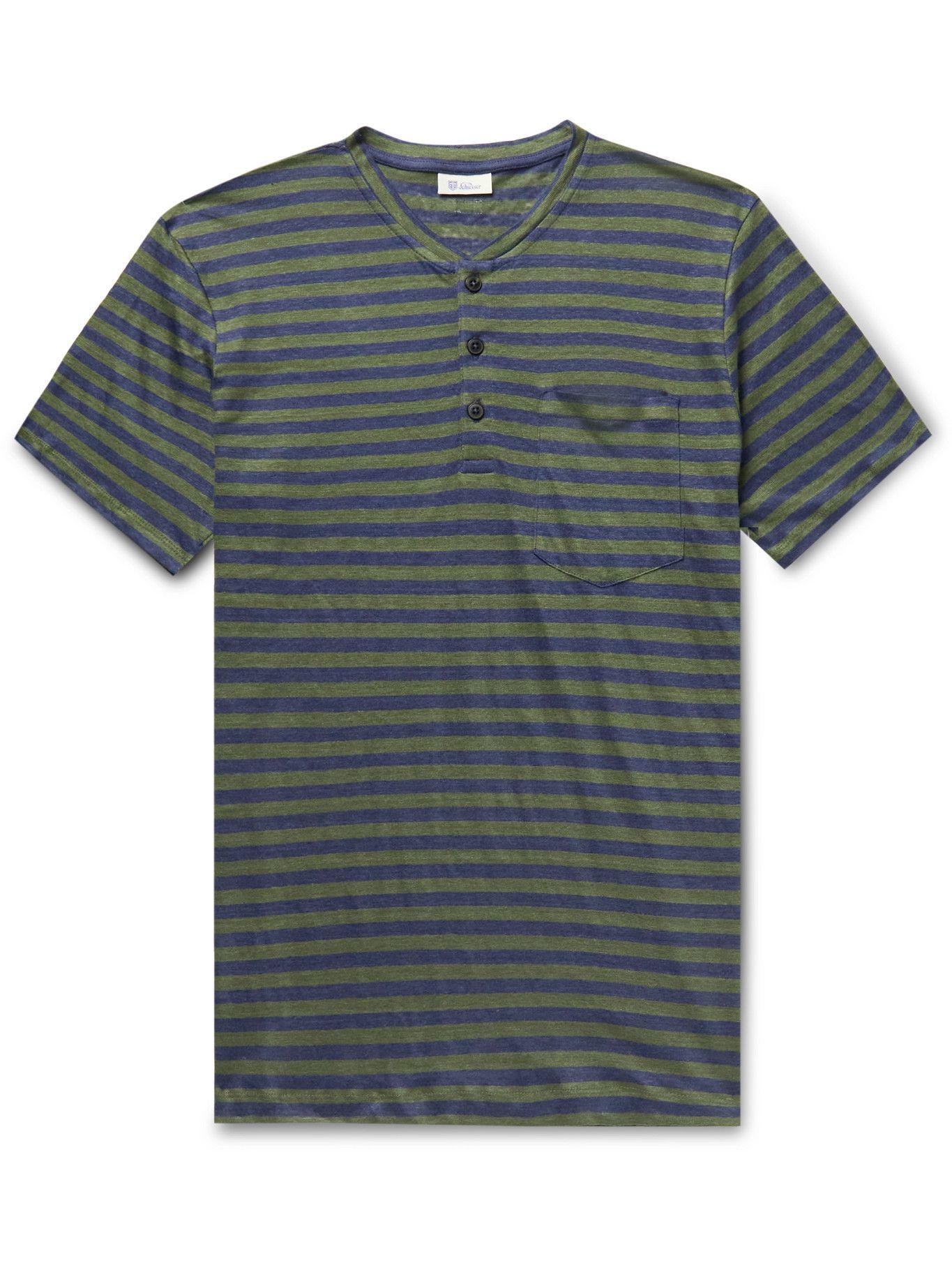 Photo: SCHIESSER - Helmut Striped Linen-Jersey Henley T-Shirt - Green