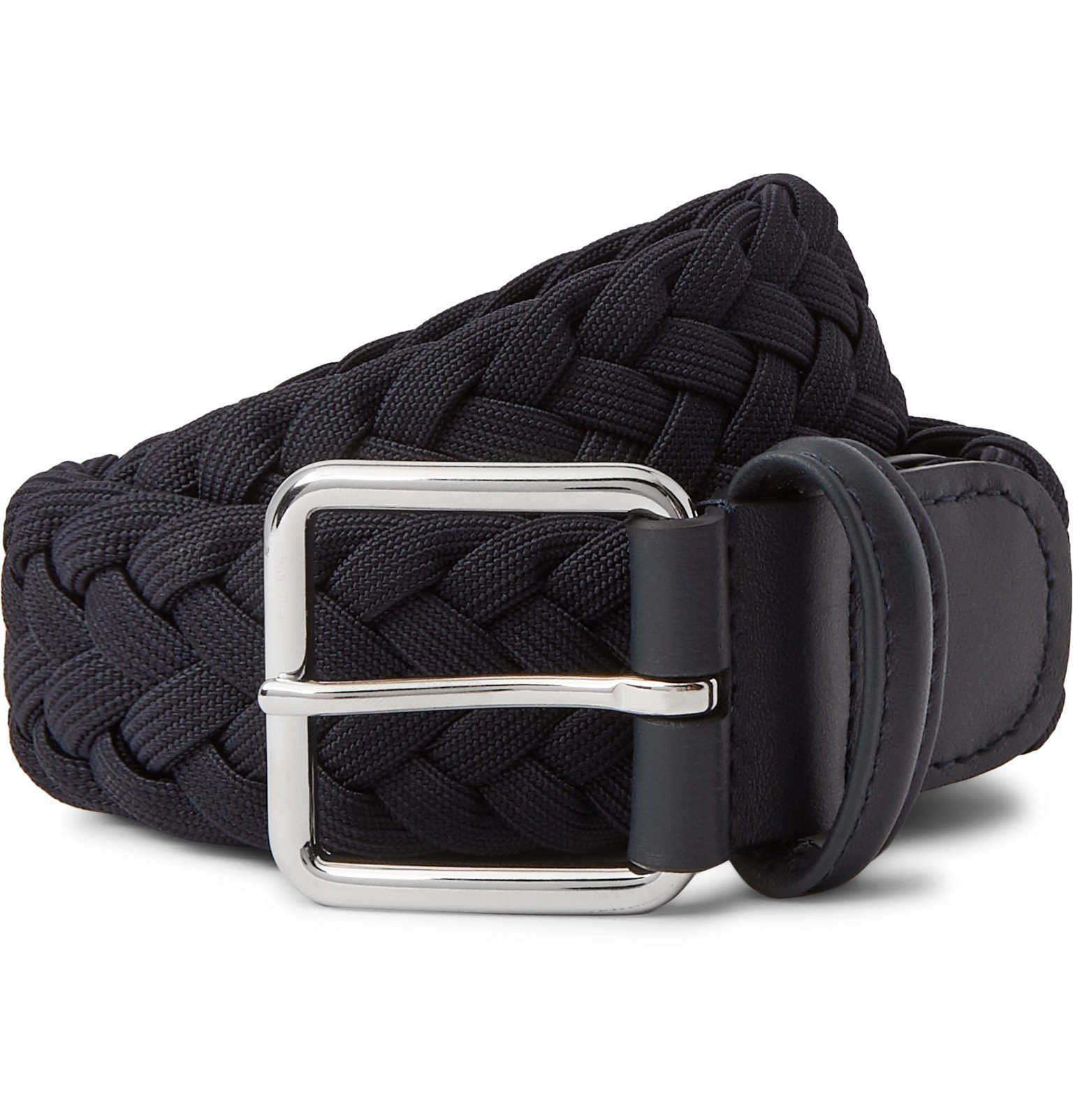 Photo: Anderson's - 4cm Navy Leather-Trimmed Woven Elastic Belt - Blue