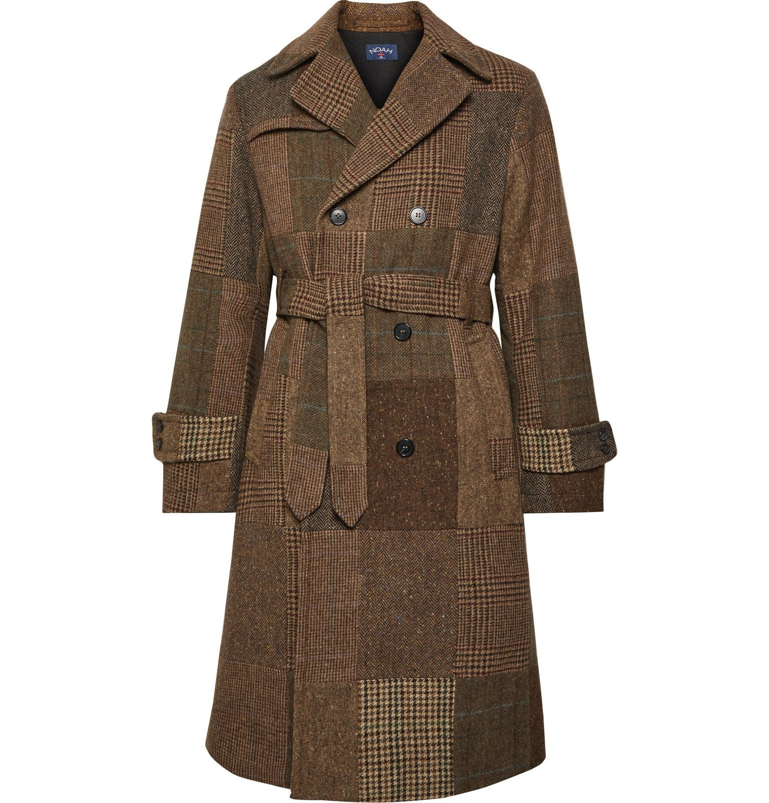 Photo: Noah - Patchwork Double-Breasted Wool Trench Coat - Brown