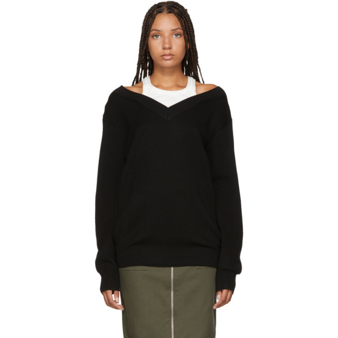 3a7b30113 T by Alexander Wang Black Inner Tank Off-the-Shoulder Sweater T by ...