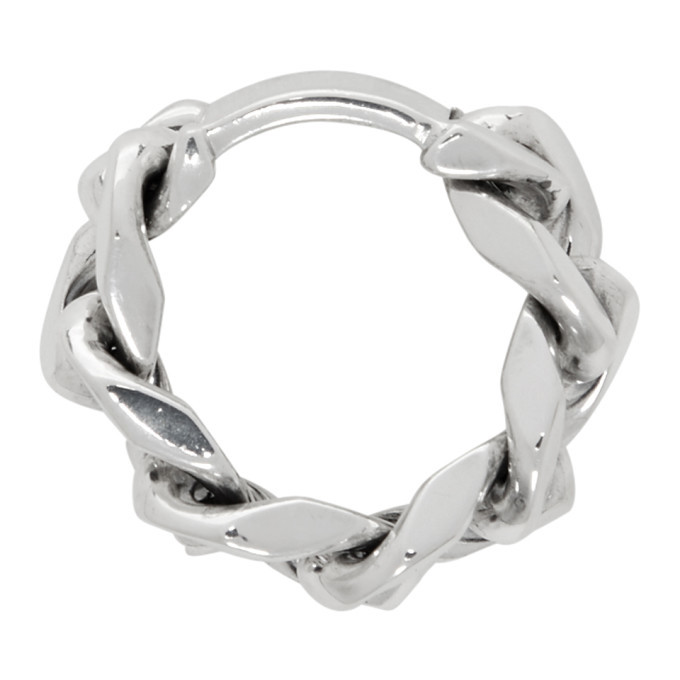 Bottega Veneta Silver Curb Chain Ring