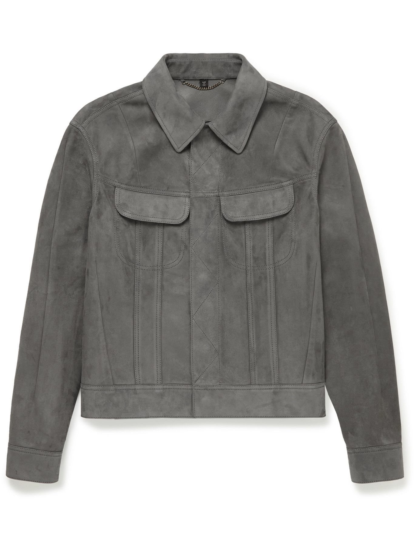 DUNHILL - Slim-Fit Suede Trucker Jacket - Gray