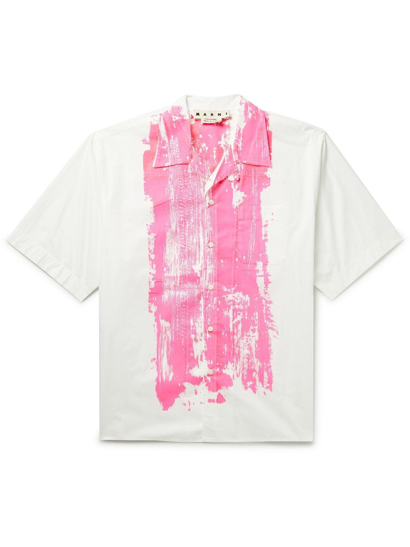 Photo: MARNI - Printed Cotton-Poplin Shirt - White