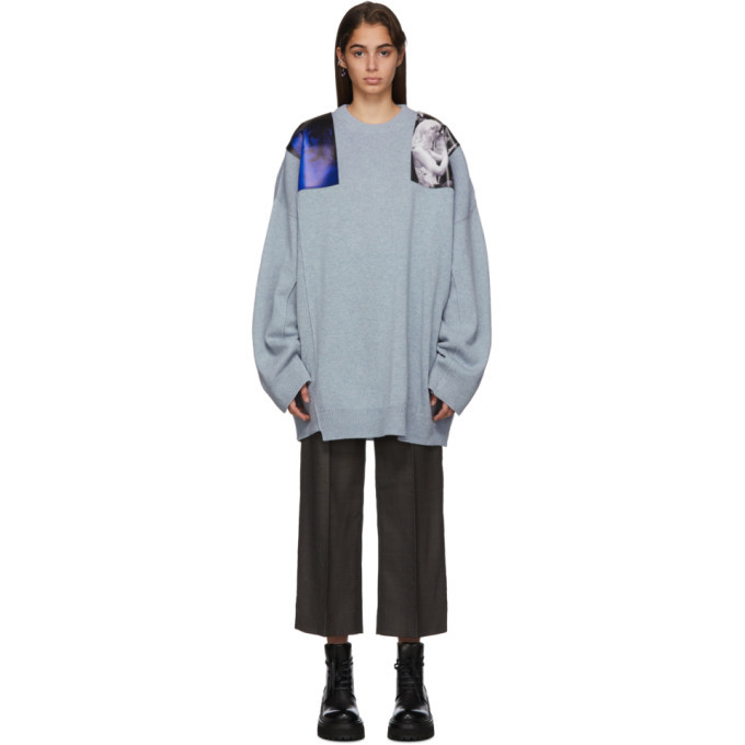 Raf Simons Blue Oversized Patches Sweater