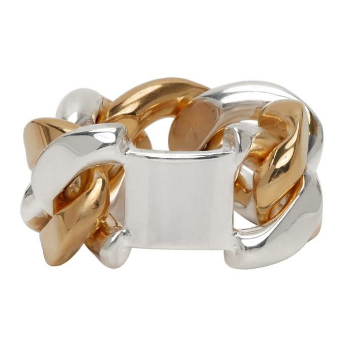 Photo: Bottega Veneta Silver and Gold Chain Ring