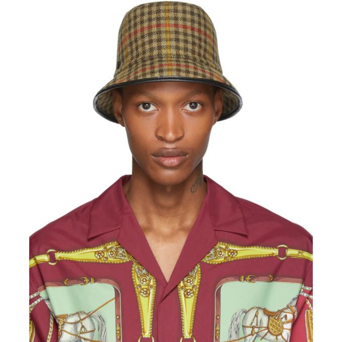 Photo: Gucci Beige Plaid Bucket Hat
